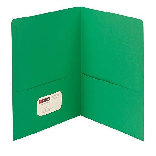 Smead Two-Pocket Heavyweight Folder, Letter Size, Green, 25 per Box (87855) - Pocket Green Two