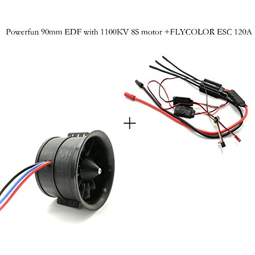 Powerfun EDF 90mm 12 Blades Ducted Fan with RC Brushless Motor 1100KV with ESC 120A(5~8S) Balance Tested for EDF 8S RC Jet Airplane (Electric Ducted Fan Rc Planes)