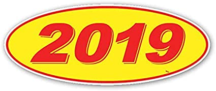 Red Numbers on Yellow 2015 12 Per Pack CADS Oval Model Year Window Stickers