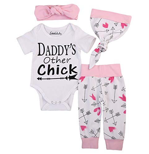 Emmababy Newborn Girls Clothes Baby Romper Outfit Pants Set Long Sleeve Winter Clothing (6-9Months, White(Short -