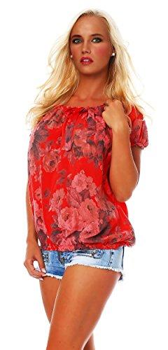 viscose motif shell ROSE floral Bluse chemise BIG Damen Carmen blouse courtes Rouge manches ZARMEXX 86wxn51qI