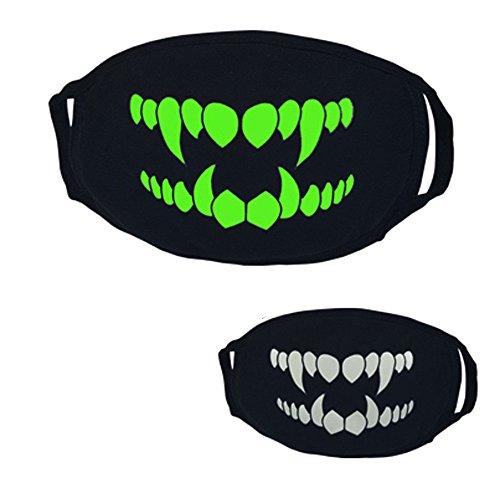 Willsa 26 Styles Black Halloween Party Luminous Ghost Skull Half Face Scary Horror Mask -