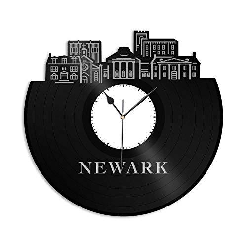 VinylShopUS - Newark DE Vinyl Wall Clock City Skyline Cityscape Record Souvenir Unique Gift for Friends Men Women Office | Anniversary Home Room -