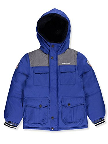 London Fog Baby Toddler Boys' Heavyweight Shirt Pocket Parka Coat, Blue, 2T - Fleece Heavyweight Parka