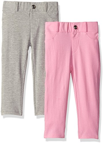 Limited Too Little Girls' 2 Pack: Stretch French Terry Moleton Pants, Heather Grey/Light Pink, 5