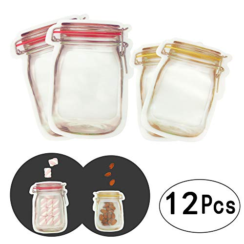 Price comparison product image Reusable Food Storage Zipper Bags Mason Jar Shape Snacks Airtight Seal Food Saver Leak-proof Bags, 12pc