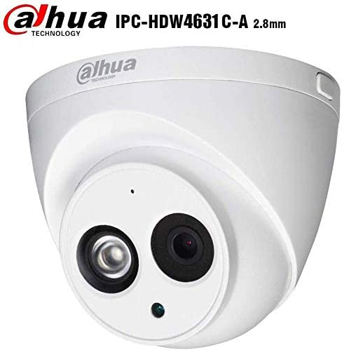 Dahua 6MP Dome Camera IPC-HDW4631C-A 2.8mm PoE IP Security Camera Turret Super HD Eyeball Network Camera Built-in Mic for Audio, 100ft IR Day Night, H.265, IP67 Weatherproof