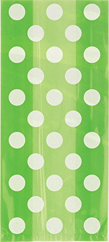 Lime Green Polka Dot Cellophane Bags, 20ct -