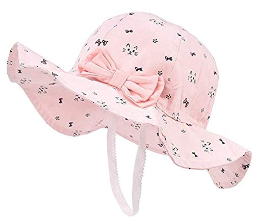 Spring/Summer Cotton Baby Girls 's Outdoor Bowknot Sun Hat/Beach Hat (Pink cat, 16.9 in(43cm)/3-6 Months)]()