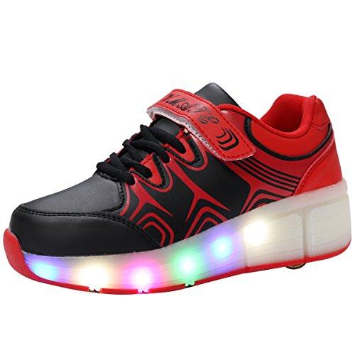 VMATEPU Black LED Light Up Sneakers Single Wheel Roller Skate Shoes Kids Boys Girls Shoes
