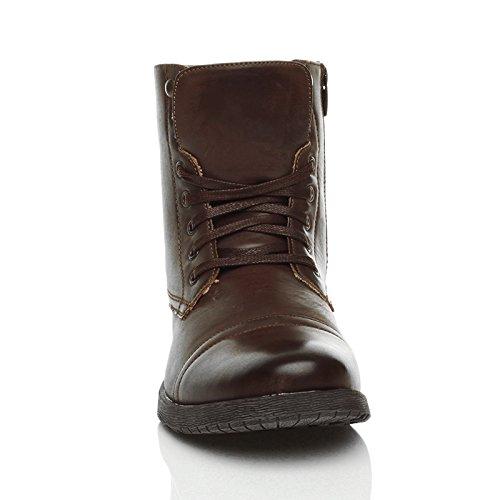 Herren Schnüren Kleine Absatz Knöchelhohe Stiefel Militär Stiefeletten Größe Dunkelbraun