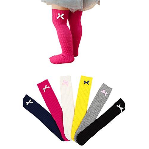 4 Pairs Baby Girls Leg Warmers Bowknot Cotton Stockings Socks - 8
