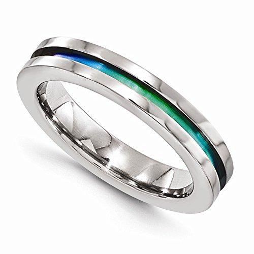 Edward Mirell Polished Titanium Anodized 4mm Wedding Band - Size 12 by Edward Mirell
