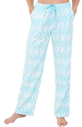 Alexander Del Rossa Womens Flannel Pajama Pants, Long Cotton Pj Bottoms, Small Light Blue Argyle (A0703Q68SM)