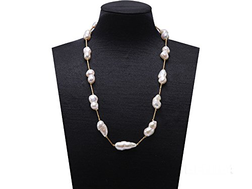 Baroque Pearl Chain Necklace (JYX White Freshwater Cultured Baroque Pearl Necklace 19