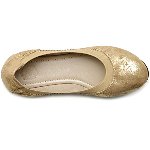 Ollio Womens Shoe Comfort Multi Color Cute Ballet Flats Champagne