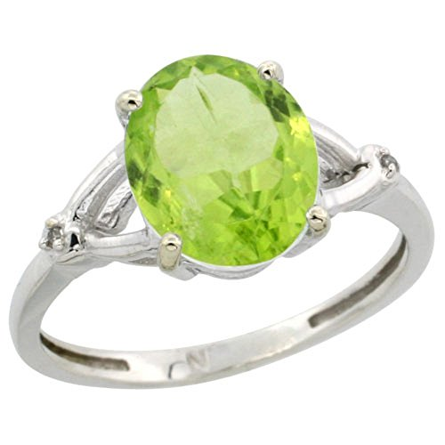 Sterling Silver Diamond Natural Peridot