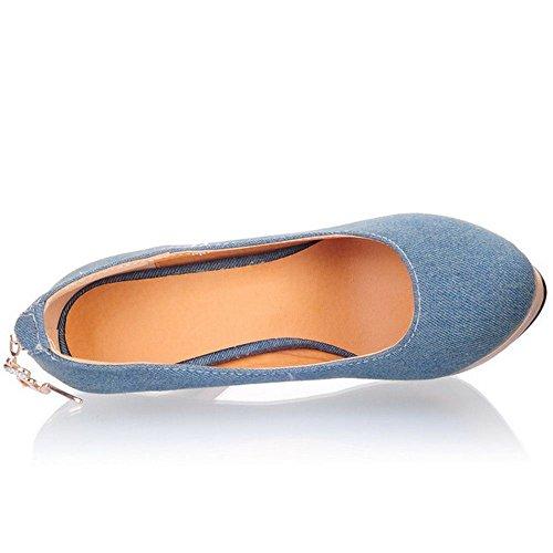 COOLCEPT Zapatos Mujer Moda Zipper Zapato Dedo Del Pie Cerrado Tacon de Aguja Heel Bombas Zapatos for Fiesta Boda Dark Azul