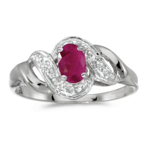 0.37 Carat ctw 14k Gold Oval Red Ruby & Diamond Bypass Swirl Engagement Anniversary Fashion Ring - White-gold, Size 6.5 ()
