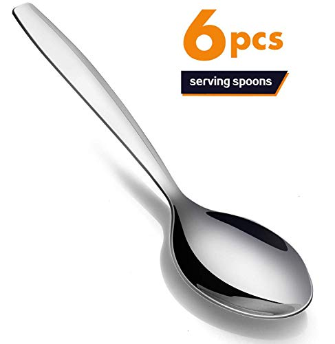 Serving Spoons Buffet, Elegant Life Stainless Steel Serving Utensil, Solid Cooking Spoons for Large Buffet Banquet Flatware Kitchen Basics Serving Spoon Tablespoons Set of 6, 9.8 Inch (Serving Utensils Stainless Steel)