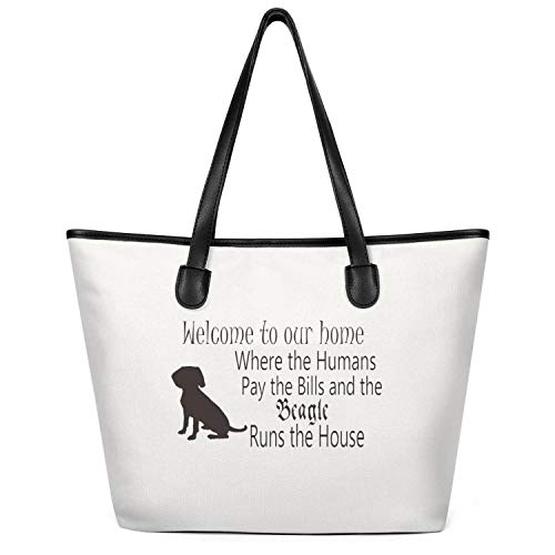 Women's Welcome To Our Where the Humans Pay the Bills and the Beagle Runs the House Canvas Shoulder Bag Simple Tote Bag for Work