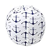Stuffed Animal Storage Bean Bag Chair, Zooawa Kids Bedroom Organizer for Plush Cuddly Jumbo Animal Toys - 32'', Blue + White Anchor