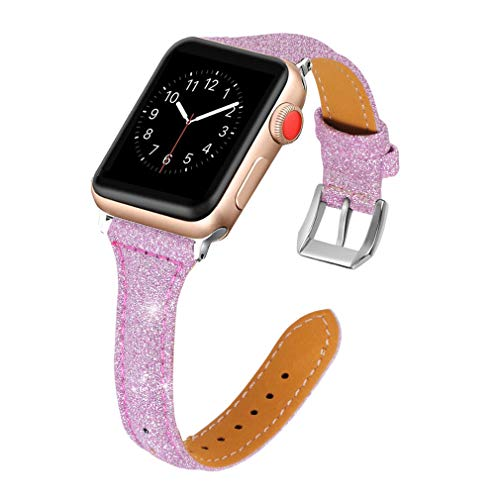 vialavida Flash Leather Bands Compatible Apple Watch Iwatch Series 40mm, Series 3/2/1 38mm, Women Men Slim Replacement Sport Wristband Stainless Steel Buckle
