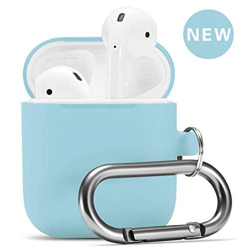 Airpods Case, Airpod Silicone Skin Cases Cover by Camyse, Full Protective Durable Shockproof Drop Proof with Keychain Compatible with Apple Airpods 2 &1 Charging Case,AirpodsAccesssories(Coast Blue)