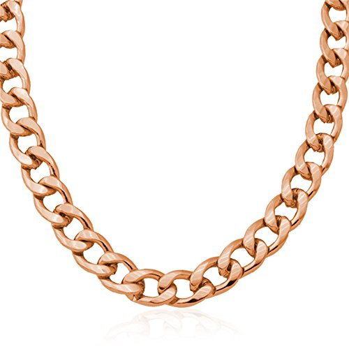 U7 Men Chunky Necklace 11MM Wide Rose Gold Plated Thick Solid Cuban Curb Chain 22 Inch