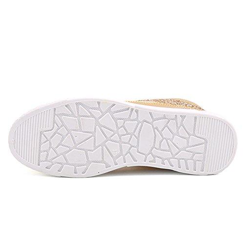 Sitaile Uomo Donna Rivetto Scarpe Alte Glitter Glitter Moda Sneakers Gold1