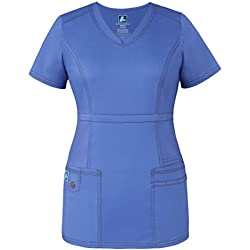 Adar Pop-Stretch Junior Fit Womens Princess V-neck Top - 3232 - Ceil Blue - M
