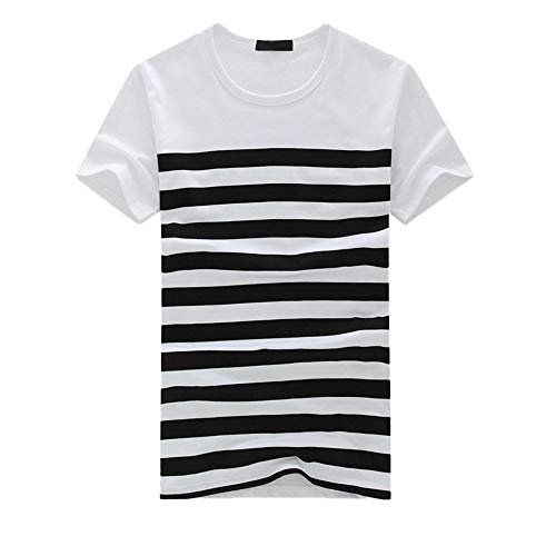 Hermia Men's Classics Striped T Shirt Crew Neck Short Sleeve Summer Casual Pullover Tee Top Sweatshirts (Color : Black, Size : Large)