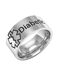 Medical Condition Alert Diabetic Titanium Unisex Band Finger Ring Jewelry Gift