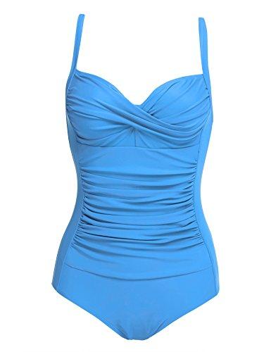 Blue Sky Swimwear Underwire - Ekouaer 50s Elegant Inspired Retro Vintage One Piece Pin Up Monokinis Swimsuit Sky Blue Medium