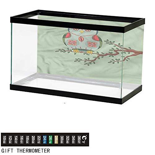 bybyhome Fish Tank Backdrop Cute,Owl Figure on a Tree Branch,Aquarium Background,36