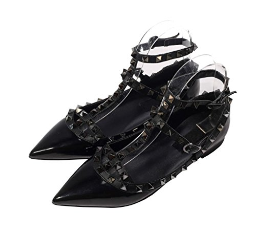 Katypeny Womens Sexy Stud Buckle Shallow Mouth Pointed Toe Flat Pump Shoes 03# Black Patent Pu Leather xMExx
