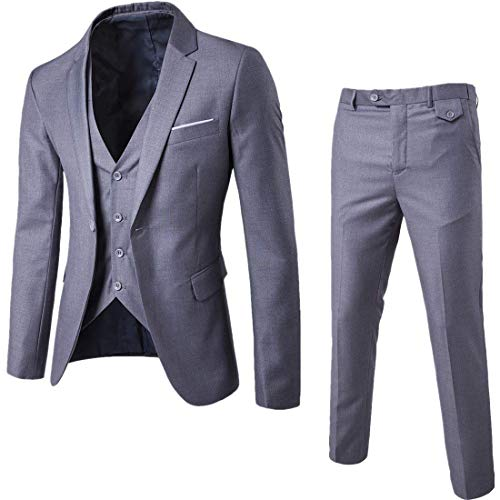 Men's Notch Lapel Modern Fit Suit Blazer Jacket Tux Vest & Trousers Set Three-Piece, Light Grey, Medium