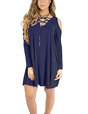 Women's Casual Long Sleeve Off Shoulder V-neck Loose Dress