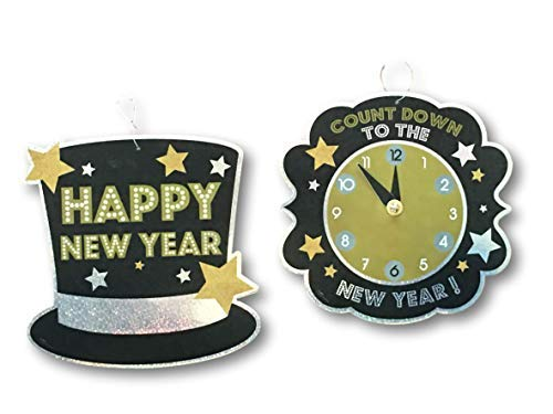 Plum Nellie's Treasures Holographic - Set of 2 - New Years Eve Hanging Sign Wall Decorations - Happy New Years Hat & Countdown -