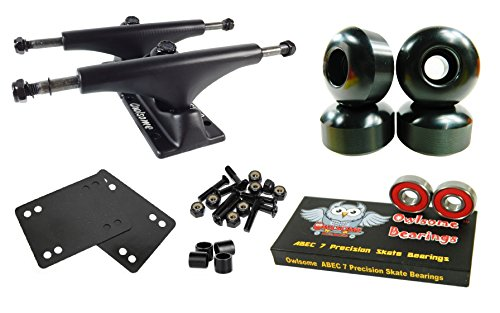 Owlsome 5.25 Black Aluminum Skateboard Trucks w/ 52mm Wheels Combo Set (Black)