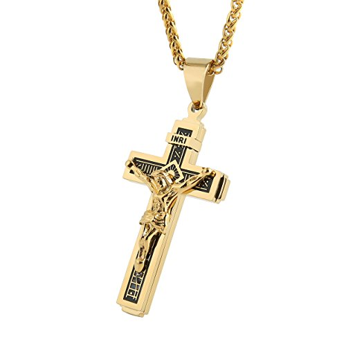 (HZMAN Catholic Jesus Christ on INRI Cross Crucifix Gold Tone Stainless Steel Pendant Necklace 24