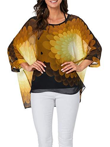 iNewbetter Womens Bohemian Blouse Batwing Sleeve Floral Print Chiffon Caftan Poncho Tunic Tops PB 339