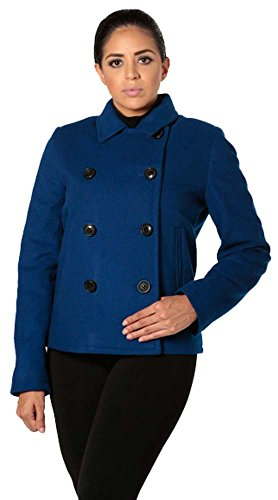 Satin Wool Coat - Cute Double Breasted Wool Satin Lined Peacoat (X-Small)