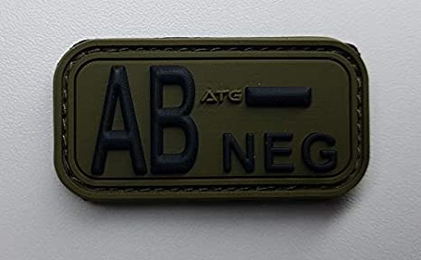 Schwarz, 0 + ATG Blutgruppen Patch