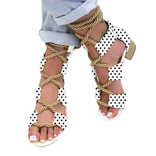 (JJHAEVDY Womens Polka Dot Print Low Block Heel Sandals Cut Out Gladiator Sandal Cross Lace Up Strappy Summer Shoes)