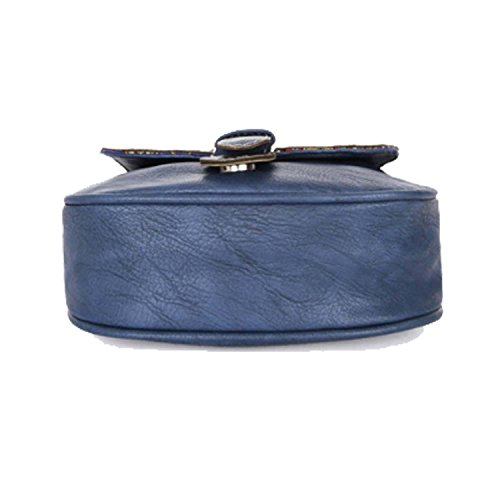 Deals Genuine Women's Sale Saddle Clearance Cyber for Style Vintage Shoulder Monday Blue Black Bag Handicrafts Bag Gifts Week Women Leather Body Christmas Cross Vintage Handmade Purse wcqw5rx