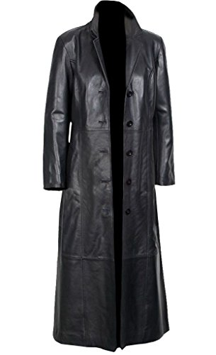 Sheepskin, Women's Long Coat Black Glossy Original Leather, for Sale on Amazon (XXL) (Trench Coat Ladies Leather)