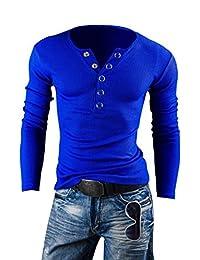 Kiistyle Men More Than Buckle Big V-Neck Long Sleeved Slim Brushed T-Shirt