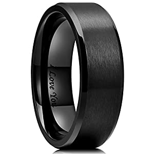 King Will 8mm Stainless Steel Ring Black Plated Matte Finish&Polished Beveled Edge with Laser Etched I Love You