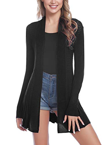 iClosam Womens Casual Long Sleeve Open Front Cardigan Sweater (#2Black, Large) ()